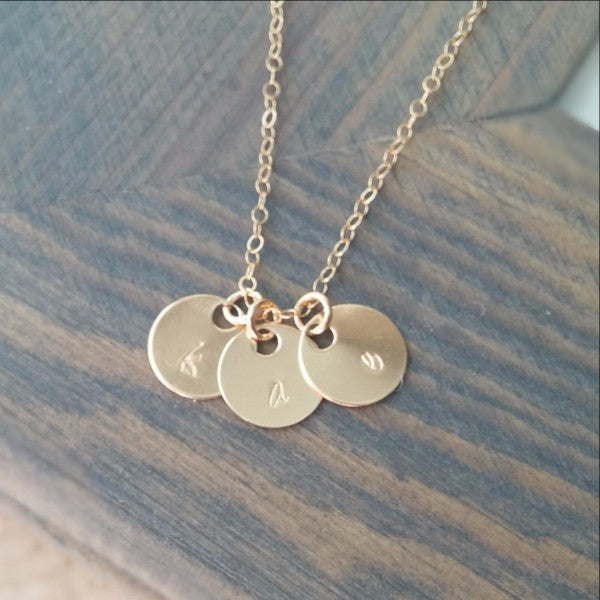 Gold Initial Discs Necklace