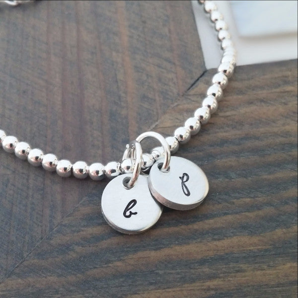 Personalized Bracelet with Hand Stamped Initial Discs