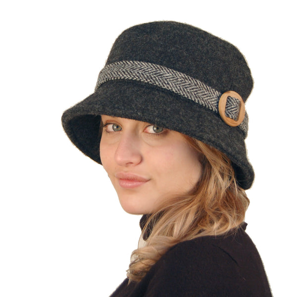 Puffin Gear Harris Tilburg Wool/Harris Tweed Belted Crusher Hat with Ear Snug-Made in Canada