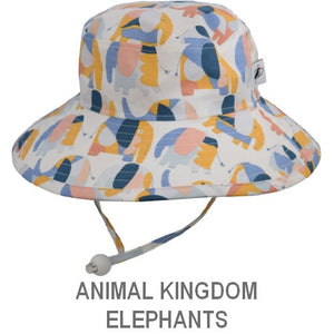 Puffin Gear Child Wide Brim Sun Protection Hat-Made in Canada-Animal Kingdom-Elephants