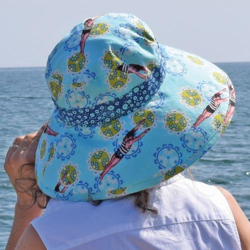 Puffin Gear UPF50+ Sun Protection Classic Hat-Tokoyo Milk Neptune and the Mermaid Vintage Diver-Made in Canada