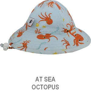 Puffin Gear Organic Cotton  Octopus Print Child Sun Protection Hat
