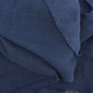 Linen Wool Fringed Fall Scarf-Navy-Puffin Gear-Made in Canada