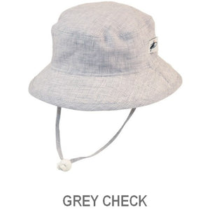 Puffin Gear Summer Day Linen UPF50 Sun Protection Child  Camp Hat-Grey Check