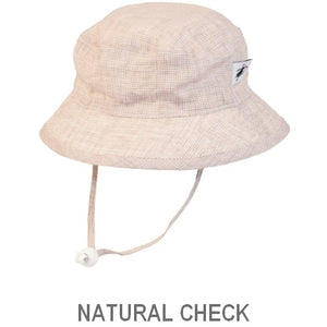 Puffin Gear Summer Day Linen UPF50 Sun Protection Child  Camp Hat-Natural Check