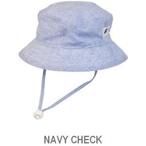 Puffin Gear Summer Day Linen UPF50 Sun Protection Child  Camp Hat-Navy Check