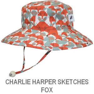 Puffin Gear Organic Cotton Child Sun Protection Wide Brim Sunbaby Hat-Charlie Harper Sketches-Fox