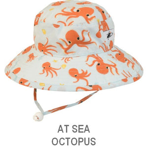Puffin Gear Organic Cotton Child Sun Protection Wide Brim Sunbaby Hat-At Sea-Octopus