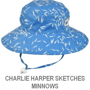 Puffin Gear Organic Cotton Child Sun Protection Wide Brim Sunbaby Hat-Charlie Harper Sketches-Minnow