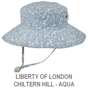 Puffin Gear Child Wide Brim Sun Protection Hat-Made in Canada-Liberty of London Chiltern Hill Aqua