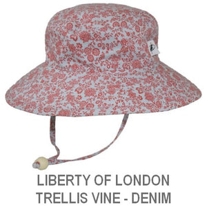 Puffin Gear Child Wide Brim Sun Protection Hat-Made in Canada-Liberty of London Trellis Vine Red