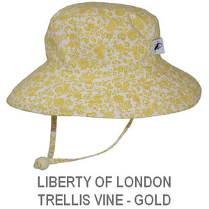 Puffin Gear Child Wide Brim Sun Protection Hat-Made in Canada-Liberty of London Trellis Vine Gold