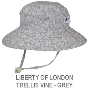 Puffin Gear Child Wide Brim Sun Protection Hat-Made in Canada-Liberty of London Trellis Vine Grey