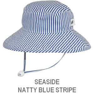 Puffin Gear Child Wide Brim Sun Protection Hat-Made in Canada-Seaside-Natty Blue Stripe