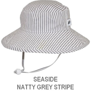 Puffin Gear Child Wide Brim Sun Protection Hat-Made in Canada-Seaside-Natty Grey Stripe