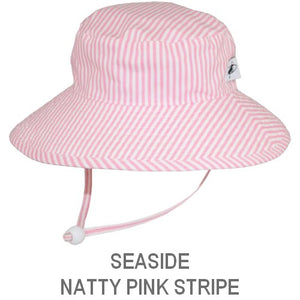 Puffin Gear Child Wide Brim Sun Protection Hat-Made in Canada-Seaside-Natty Pink Stripe