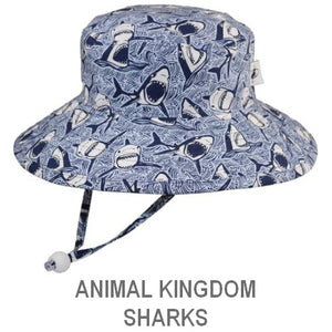 Puffin Gear Child Wide Brim Sun Protection Hat-Made in Canada-Animal Kingdom-Sharks