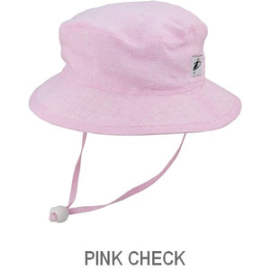 Puffin Gear Summer Day Linen UPF50 Sun Protection Child  Camp Hat-Pink Check