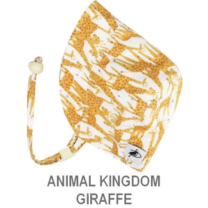 Puffin Gear Infant and Toddler Sun Protection Bonnet-Made in Canada-Animal Kingdom-Giraffe
