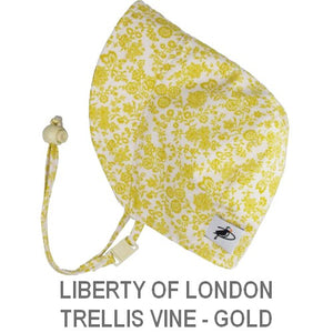 Puffin Gear Infant and Toddler Sun Protection Bonnet-Made in Canada-Liberty of London-Trellis Vine-Gold