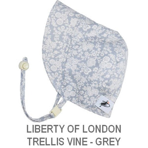 Puffin Gear Infant and Toddler Sun Protection Bonnet-Made in Canada-Liberty of London-Trellis Vine-Grey
