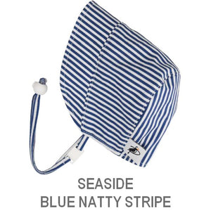 Puffin Gear Infant and Toddler Sun Protection Bonnet-Made in Canada-Seaside-Blue Natty Stripe