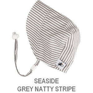 Puffin Gear Infant and Toddler Sun Protection Bonnet-Made in Canada-Seaside-Grey Natty Stripe