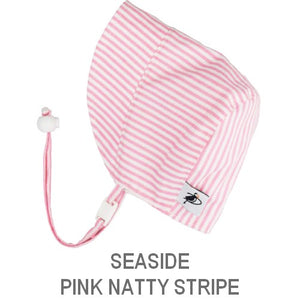 Puffin Gear Infant and Toddler Sun Protection Bonnet-Made in Canada-Seaside-Pink Natty Stripe
