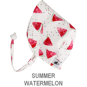 Puffin Gear Infant and Toddler Sun Protection Bonnet-Made in Canada-Summer-Watermelon