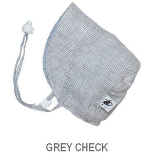 Puffin Gear Infant and Toddler Linen Sun Protection Bonnet-Made in Canada-Grey Check