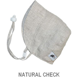 Puffin Gear Infant and Toddler Linen Sun Protection Bonnet-Made in Canada-Natural Check