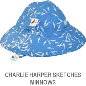 Puffin Gear Infant Sun Protection Sunbeam Hat-Made in Canada-Charlie Harper Sketches-Minnow