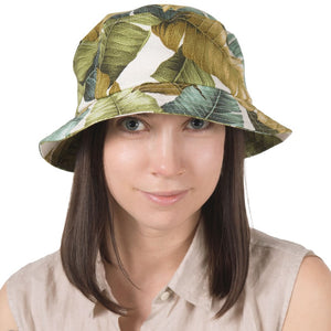 Puffin Gear Barkcloth Vintage Palm Print Bucket Hat - Linen-UPF50 Sun Protection - Made in Canada