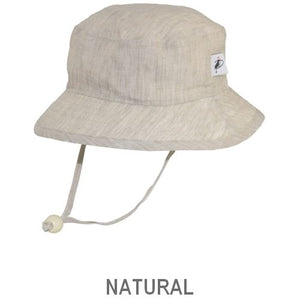 Puffin Gear Summer Day Linen UPF50 Sun Protection Child  Camp Hat-Natural