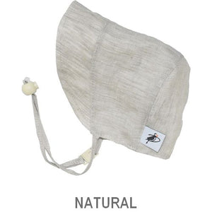Puffin Gear Infant and Toddler Linen Sun Protection Bonnet-Made in Canada-Natural