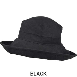 Puffin Gear Patio Linen UPF50+ Sun Protection Wide Brim Classic Hat-Black-Made in Canada