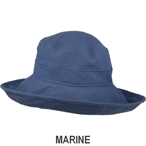Puffin Gear Patio Linen UPF50+ Sun Protection Wide Brim Classic Hat-Marine-Made in Canada