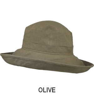 Puffin Gear Patio Linen UPF50+ Sun Protection Wide Brim Classic Hat-Olive-Made in Canada