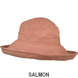 Puffin Gear Patio Linen UPF50+ Sun Protection Wide Brim Classic Hat-Salmon-Made in Canada