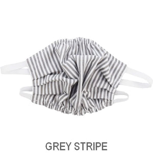 Puffin Gear Child 3 Layer Cotton Mask with Polypropylene Filter Layer-Made in Toronto Canada-Grey STripe
