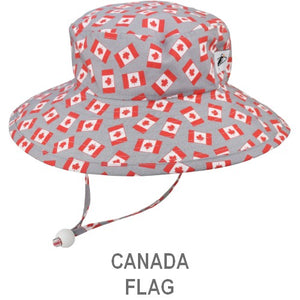 Puffin Gear Child Wide Brim Sun Protection Hat-Made in Canada-Canada Flag