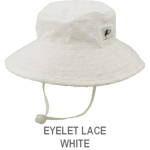 Puffin Gear Child Wide Brim Sun Protection Hat-Made in Canada-Eyelet Lace-Ivory