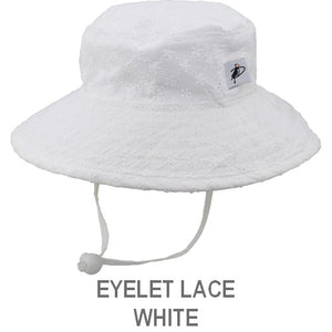 Puffin Gear Child Wide Brim Sun Protection Hat-Made in Canada-Eyelet Lace-White