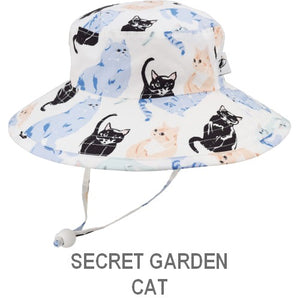 Puffin Gear Organic Cotton Child Sun Protection Wide Brim Sunbaby Hat-Secret Garden-Cat