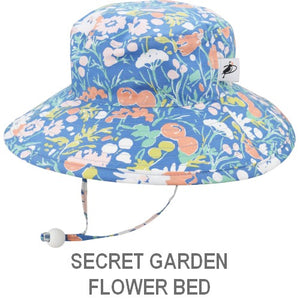 Puffin Gear Organic Cotton Child Sun Protection Wide Brim Sunbaby Hat-Secret Garden-Flower Bed