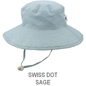 Puffin Gear Child Wide Brim Sun Protection Hat-Made in Canada-Swiss Dot-Sage