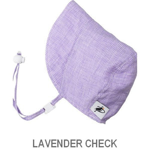 Puffin Gear Infant and Toddler Linen Sun Protection Bonnet-Made in Canada-Lavender Check