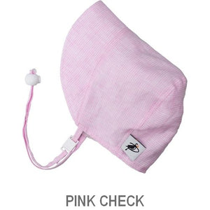Puffin Gear Infant and Toddler Linen Sun Protection Bonnet-Made in Canada-Pink Check