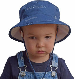 Puffin Gear Child and Toddler Sun Protection Camp Hat-UPF50-Made in Canada-Stream Fish Print