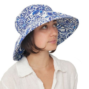 Puffin Gear Courtyard Garden Linen Sun Protection Classic Hat-Mosaic-UPF50-Made in Canada